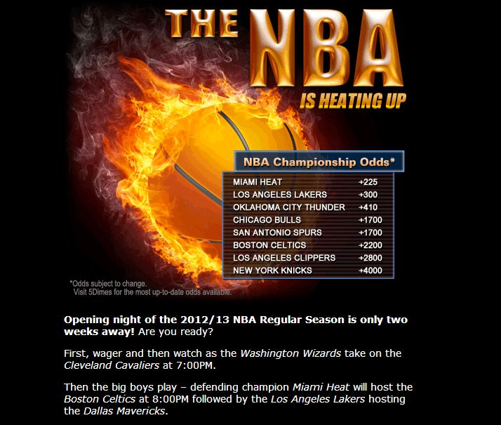 5Dimes Releases NBA Odds For 2013